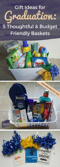 High School College  Graduation Gift Basket Ideas | For Girls, For Guys, For Her, For Him | How to Make, DIY | Free Printable, Printables Gift Tags | Budget Friendly  via @esycollegelife
