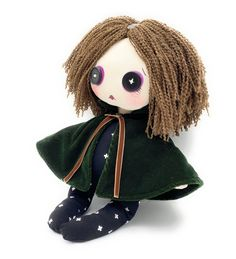 GothicMia Button Eyes Doll, Button Eyed Gothic Creepy Doll Brown Curly Hair, Button Eyes, Plastic Doll, White Crosses, Gothic Home Decor, Cross Patterns, Gothic House, Creepy Dolls, Handmade Products