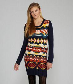 Available at Dillards.com #Dillards Tribal Print Sweater, Tribal Prints, Dillards, High Neck Dress, My Style, Sweater Dresses, Sweaters, Exterior, Christmas