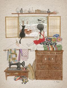 71 images about Cat and Me Illustration on We Heart It Art And Illustration, Illustration Mignonne, Art Fantaisiste, Art Mignon, Korean Art, Cute Images, Whimsical Art, Crazy Cat Lady, Cat Art
