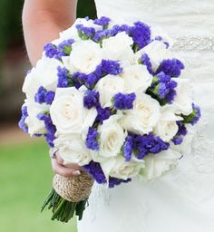 Bride's Bouquet Of: White Roses & Blue Statice~~