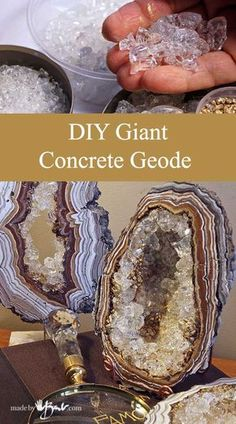 DIY Giant Concrete Geode - Made By Barb - Simple step by step instructions to ca. - DIY Giant Concrete Geode – Made By Barb – Simple step by step instructions to cast, paint and a - Concrete Crafts, Concrete Art, Concrete Projects, Resin Crafts, Resin Art, Recycled Crafts, Concrete Casting, Concrete Design, Diy Projects To Try