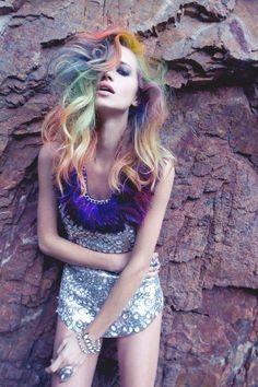multicoloured pastel rainbow colourful hair