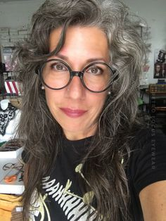 Grey hair, don't care xoxo. Big Black oversized eyeglass frames look great in long oval oblong faces. These oversized rounds are new old stock from the 1970's, made in the USA.