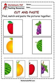 Fruits – Cut and Paste Shape Worksheets For Preschool, Shapes Worksheet Kindergarten, Cut And Paste Worksheets, Preschool Arts And Crafts, Creative Activities For Kids, Preschool Learning Activities, Free Preschool, Preschool Lessons, Preschool Activities