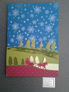 Weihnachtskarte mit Schneegestöber/Eiskristallen.