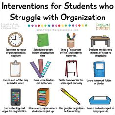 Social Emotional Learning Over 20 interventions and supports for helping students who struggle with organization, a critical executive functioning skill necessary for success inside and outside of school. Strategies for kids and teens include activities t High School Organization, Organization Skills, High School Teen, Back To School For Teens, Start High School, School Social Work, Middle School Counseling, School Ot, Funny School
