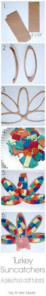 Turkey Suncatcher Preschool Craft Tutorial - Stay At Home Educator - Stay At Home Educator