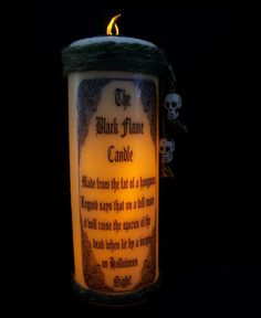 Black Flame Candle HoCuS PoCuS Prop Flameless Witch Skull wicca costume no dvd