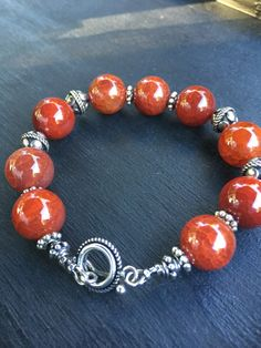Red Jasper and Sterling Silver Bali Beads Sterling by StoneSupport