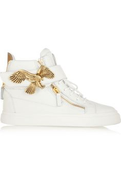 London textured-leather high-top sneakers