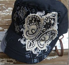 The Rustic Shop - BLACK Bling Fleur De Lis Fashion Hat, $24.99