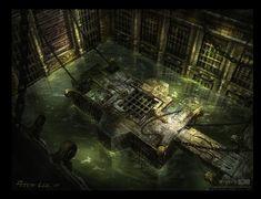 ArtStation - Diablo 3, Peter Lee Fantasy City, Fantasy Map, Fantasy Places, Fantasy Artwork, Fantasy World, Dark Fantasy, Zuko, Prison Art, Environment Design