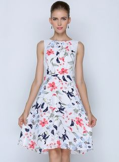 f213643427ff7 Chiffon Polyester Floral Sleeveless Knee-Length Casual Dresses Cheap Dresses,  Casual Dresses, Midi