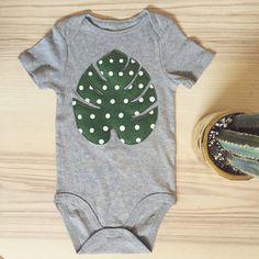 Dotted palm leaf felt applique toddler onesie bodysuit by babableu