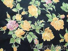 11+yards! Vintage 30-40s ROSES on Black Dress or Decorator Cotton Fabric Yardage