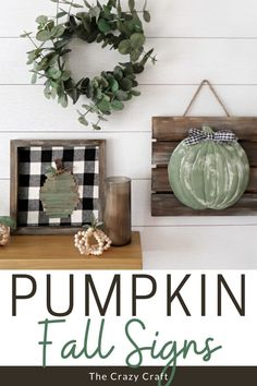 Let's get creative and make two different wood fall pumpkin signs - decorated with a dollar store tray and popsicle sticks.