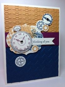 Clockworks Sympathy Card--Stamps - Clockworks, Moving Forward CS - Very Vanilla, Midnight Muse, More Mustard, Rich Razzelberry Chevron EF Argyle EF Labels Framelits Bitty Banners Framelits Silver Brads