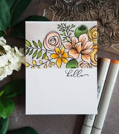 A one layer card featuring Simon Says Stamp's Sketched Flowers and coloured with Copic markers.