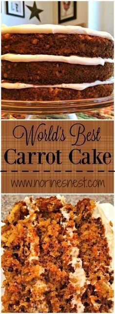 Perfect Moist Carrot Cake Recipe Loaded With All The Good Stuff Coconut, Crushed Pineapple, Carrots, Walnuts, Cinnamon And Topped With Fluffy Cream Cheese Frosting. Food Cakes, Cupcake Cakes, Köstliche Desserts, Delicious Desserts, Dessert Recipes, Healthy Desserts, Carrot Recipes, Sweet Recipes, World's Best Carrot Cake Recipe