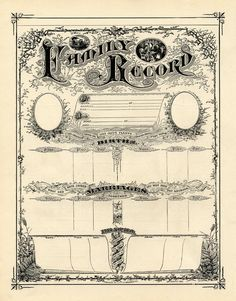 FREE Printable Antique Ephemera  Family Record Certificate ~ from *The Graphics Fairy LLC*:   This one is an 'antique white' - iow it has a pinky browny tint.