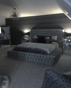 dream rooms for couples \ dream rooms . dream rooms for adults . dream rooms for women . dream rooms for couples . dream rooms for girls teenagers . dream rooms for adults bedrooms Room Ideas Bedroom, Home Decor Bedroom, Modern Bedroom, Bedroom Black, Contemporary Bedroom, Bedroom Colors, Grey Home Decor, Trendy Bedroom, Black Bed Room Ideas