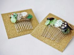 Turn plain hair combs into one-of-a-kind accessories with an assortment of vintage buttons. Shop estate sales, thrift stores and flea markets to pick up beautiful buttons on a budget then attach them to the combs with fine-gauge wire.