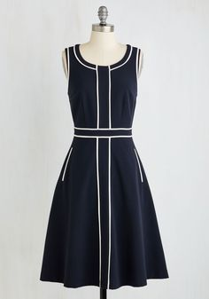 Roving Reporter Dress in Navy by ModCloth - Blue, White, Solid, Work, A-line, Sleeveless, Woven, Better, Exclusives, Variation, Private Label, Long, SF Fit Shop, Colorsplash