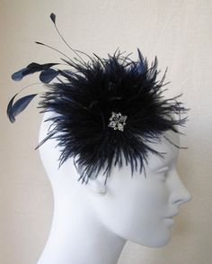 Navy Blue Ostrich Feather Pom Pom Hair Clip by BaroqueAndRoll, $78.00