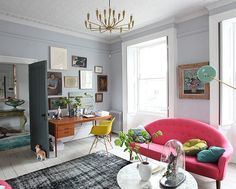With the door propped open, the desk, tucked into a corner with a   An Eclectic Georgian Menagerie   POPSUGAR Home