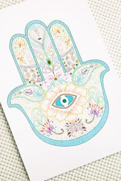 Hamsa Hand Print Card  turqoise   autentic  middle by maylanajuli, $3.00