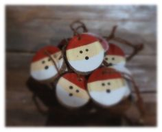 "Set of Rustic Log Slice Santa Ornaments Available in sets 5 Hand Cut with Twine cord for Hanging. (color may vary) *each ornament comes with approx 6"" twine cord. Ornaments are not pre-strung. Santa H"