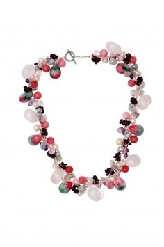 30% Discount + Free Shipping Freshwater Cultured Pearl Necklace with Colorful Agate at www.saintchristine.com