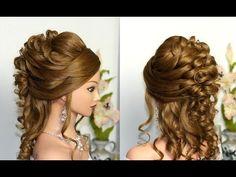 Curly wedding prom hairstyle for long hair. Свадебная прическа, прическа на выпускной. - YouTube