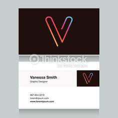 Vector Art : Logo alphabet letter 'V', with business card template.