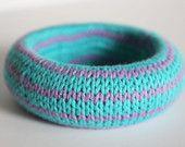 Handknit cotton/bamboo bangle from Supermarno Studio via Etsy.com