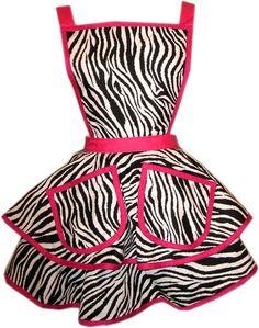 Zebra Apron with Pink Trim