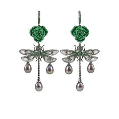 Wendy Yue: Rose and Dragonfly Drop Earrings