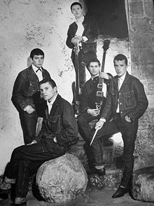 The Animals posing for publicity in 1964: L-R Eric Burdon (vocals), Alan Price (keyboards), Chas Chandler (bass), Hilton Valentine (guitar), John Steel (drums). Springsteen says that 'We Gotta Get Out of This Place' is the origin and sum of all his music.