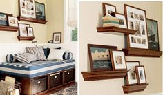 Photo memory wall using floating shelves. - Maybe I'll do this instead of a collage for wedding photos.