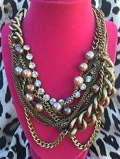 Betsey Johnson Black Label Grueso Collar De Cristal Perla Cadena De Bronce Muy…