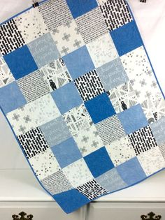 Quilted Baby Blanket, Baby Patchwork Quilt, Blue Quilts, Baby Boy Quilt Patterns, Baby Girl Quilts, Kid Quilts, Block Patterns, Blue Bedding, Quilt Bedding