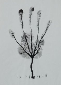 """""""Man's Hand Tree!"""" black and white drawing by artist Al Safi available at Saatchi Art"""