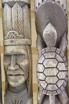 Penobscot staves. Many carve native American themes or cultural symbolism into hiking sticks.