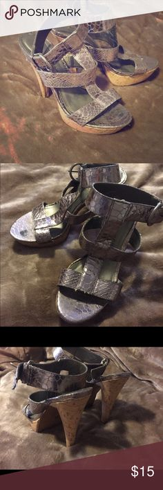 Very sexy Chinese laundry strappy heels Silver metallic strap heels, used but great condition Chinese Laundry Shoes Heels