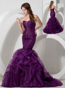 a73594278e Buy customize purple trumpet sweetheart beading pageant dress attached  court from dark purple pageant dresses collection