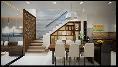 phong an nha pho dep 3 tang dien tich House Hall Design, Home Stairs Design, Home Design Living Room, Kerala House Design, Design Your Dream House, Stair Railing Design, Small House Design, Modern House Design, Home Interior Design