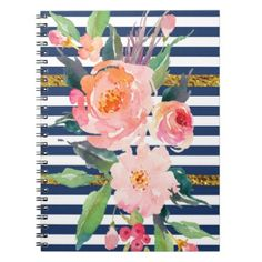 #white - #Girly Modern Chic Watercolor Flowers -Stripes Notebook