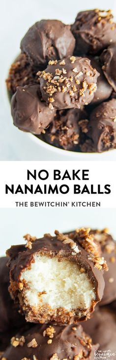I have a weakness for Nanaimo bars but they're not fun to make. A No Bake Nanaimo Balls are a twist on the classic Canadian dessert recipe, Nanaimo bars but much easier. Making this sweet confection, a bite-sized treat. Candy Recipes, Baking Recipes, Holiday Recipes, Cookie Recipes, Dessert Recipes, Baking Ideas, Baking Desserts, No Bake Recipes, Vanilla Pudding Desserts
