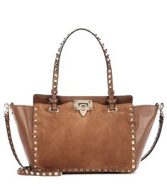 VALENTINO Valentino Garavani Rockstud Leather And Suede Tote. #valentino #bags #shoulder bags #hand bags #suede #tote #lining #